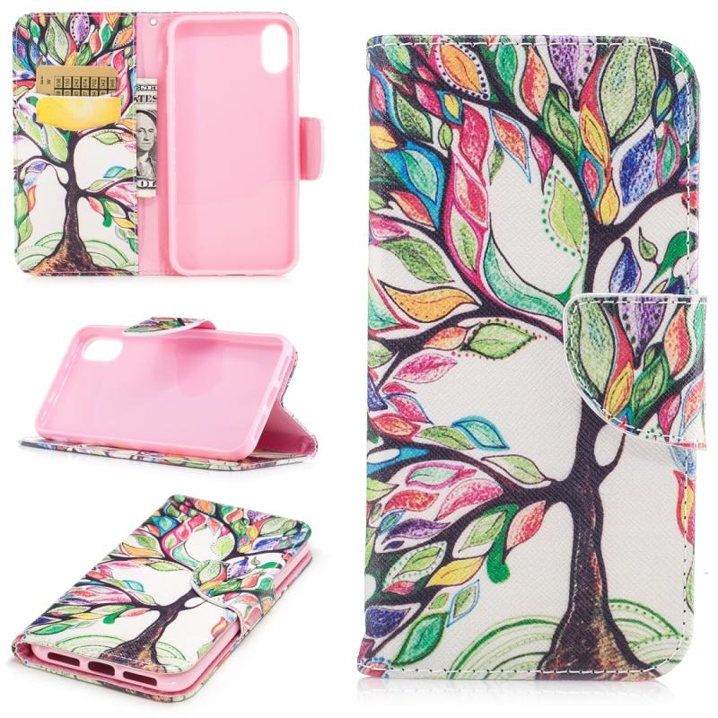 Gekleurde tekening patroon horizontale Flip lederen case voor iPhone 5 & SE  met houder & kaartsleuven & portemonnee (levensboom)