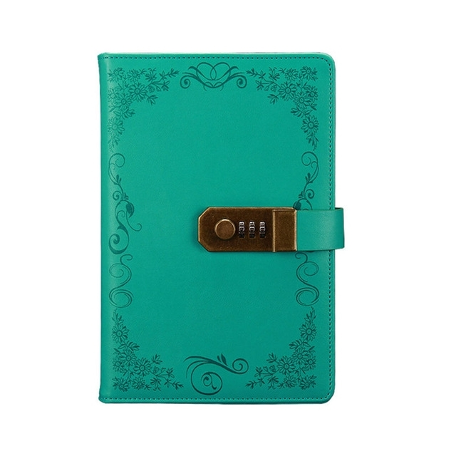Retro Bloemen Dagboek met lock notebook A5 Vintage Note Book Travel kladblok (Green B)